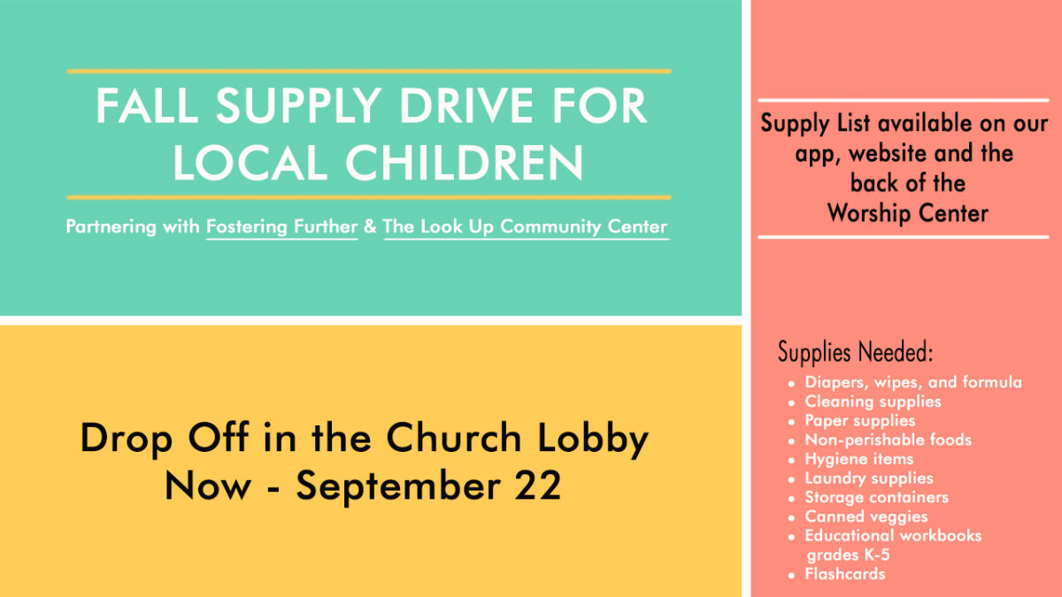 Fall Supply Drive for Local Children's Mission Outreach