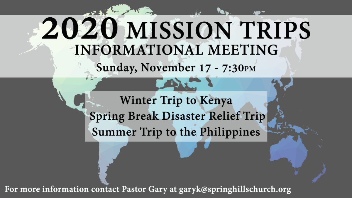 2020 Mission Trips Information Meeting