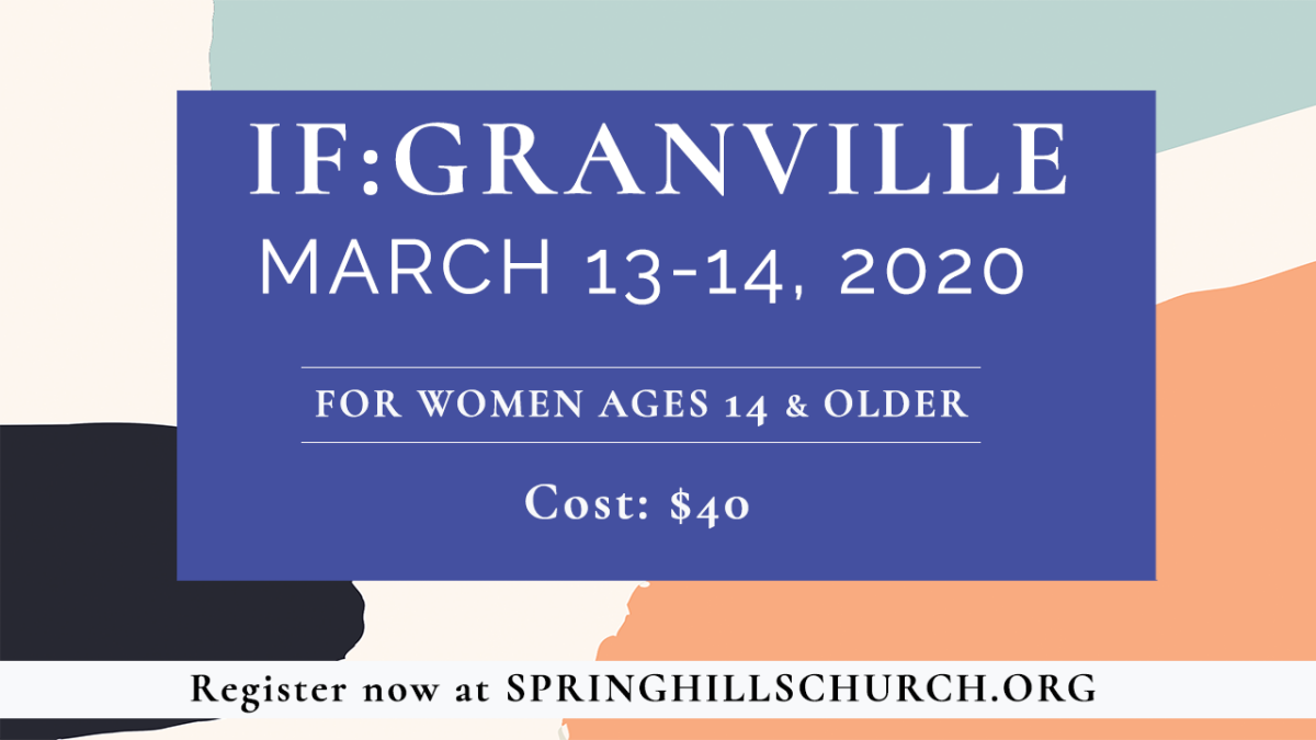 REGISTRATION:  IF:Granville 2020 - March 13 & 14, 2020
